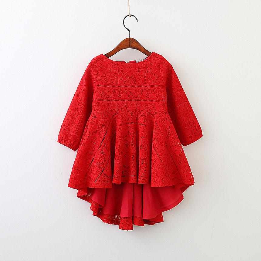 5250 rote Spitze Langarm Prinzessin Party A-Linie Kind Kleider für Babys 2018 Frühling Kinder Kleidung Großhandel Kinder Kleidung