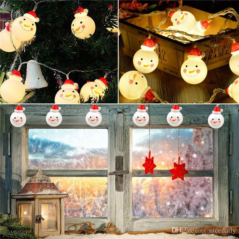 Decorazioni natalizie per la casa - 3M Christmas Snowman Light String with 20 Warm White Led Lights for Party Supplies