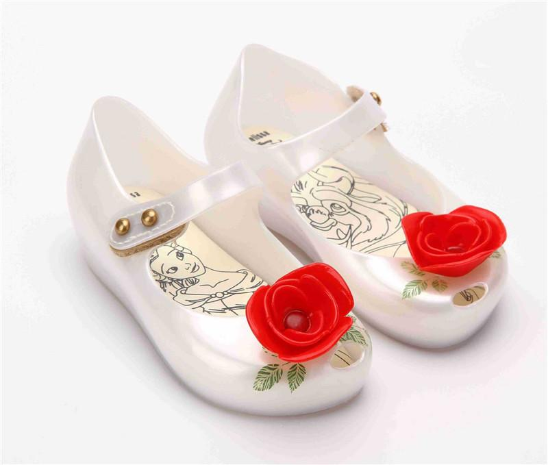elegant girl melissa sandals shoes cute rose flower candy sandals shoes for 1-5years girls kids children princess shoes