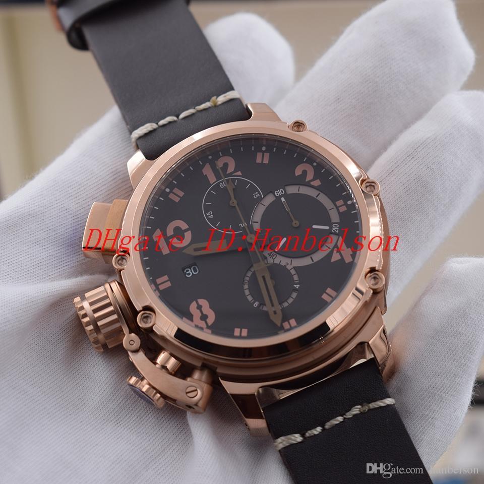Homens Estilo do NOVO Sport Strap Watch Rosa de Ouro Preto Shell Quartz multifunções cronômetro Leather U marcação Grande 6 mãos relógio de pulso