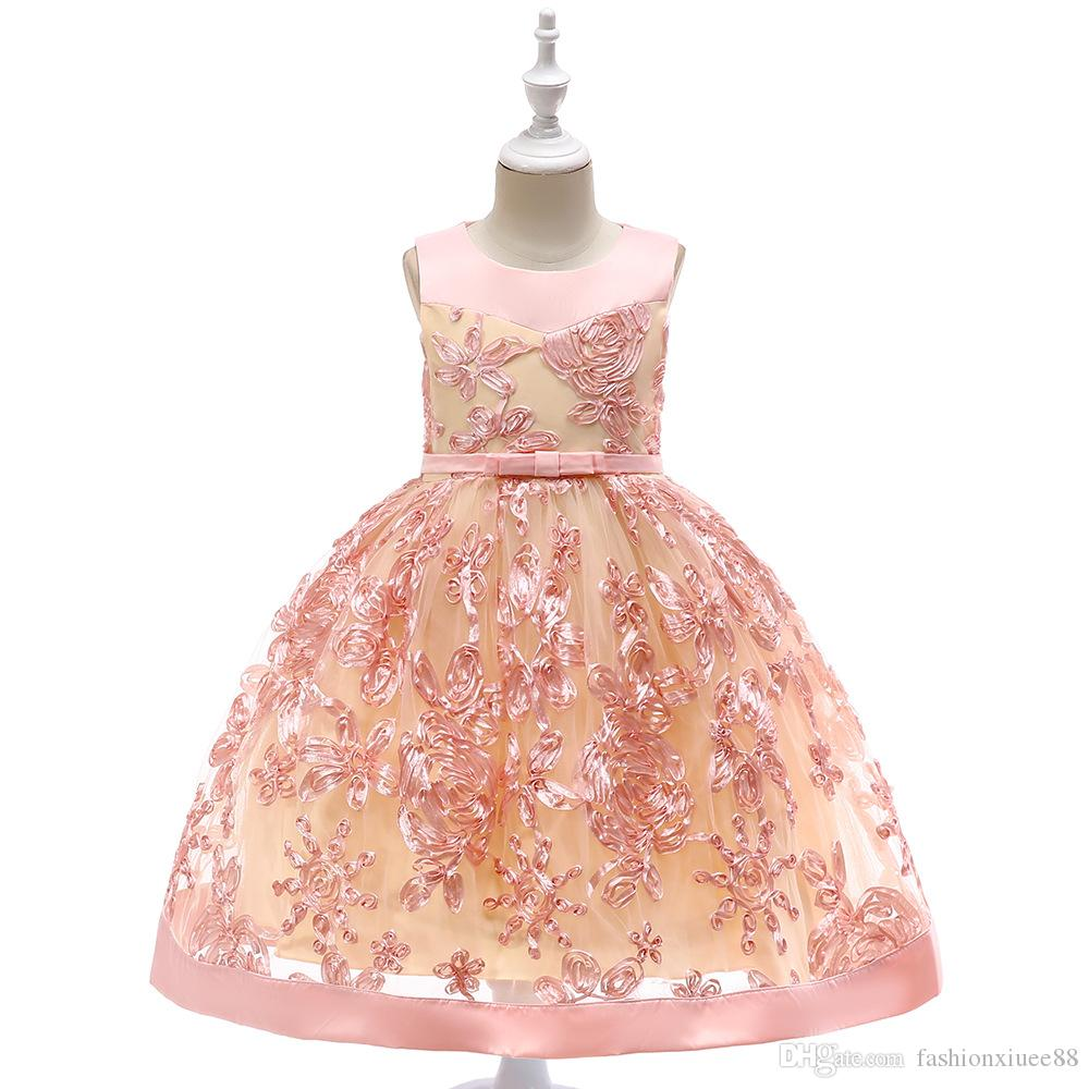 Nueva Real Flower Girl Dresses Fajas de arco Keyhole Party Comunion Pageant Dress para la boda Little Girls Kids / Children Dress