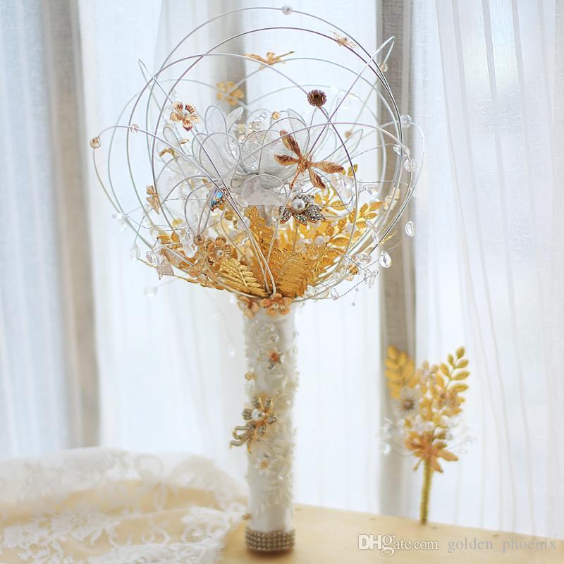 Özel Beyaz Altın Düğün Buket Kişilik Buket El yapımı Koleksiyon Versiyonu Gelin Buketi