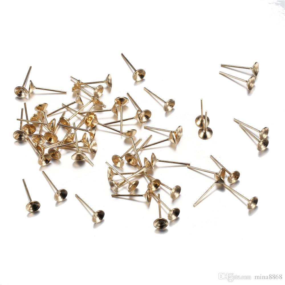 100pcs/lot 13*6mm Stud Earring Blank Base Paste Beads Base Gold/Silver Color Ear Post Ear Stud for DIY Jewelry Earring setting Making