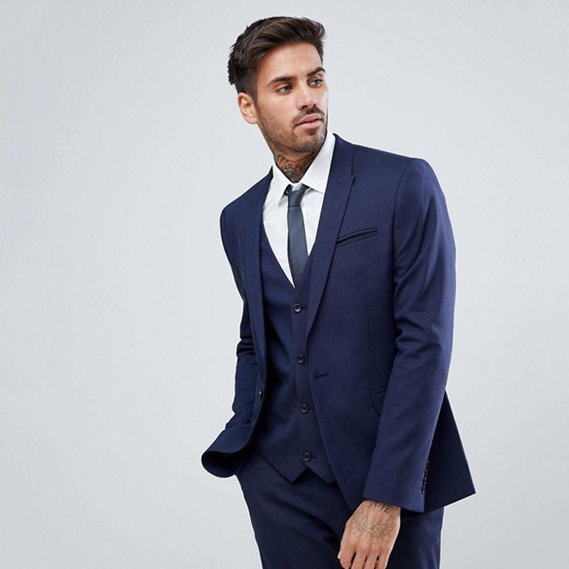 2018 الرجال الدعاوى البحرية الأزرق الأعمال الدعاوى الزفاف للرجل العريس العريس السترة أفضل رجل prom الكلاسيكية صالح الرسمي سهرة سترات + سروال + سترة