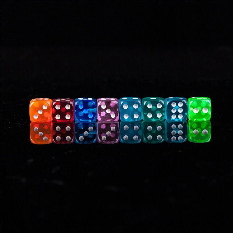 Novo 100 pcs 12-18 MM Dice Ponto De Cor Transparente 1-6 Digital Automático Jogo KTV Dice Acrílico Gambling Dices