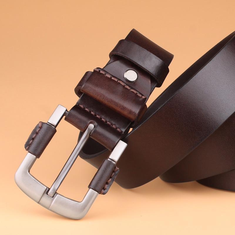 Compre Estilo Masculino De Los Hombres De Cuero Genuino Jeans Cinturones De  Cintura Negros Para Hombres Cinturon Primera Capa Hombre Ceinture Homme  Cinto ... 9606db0a9112