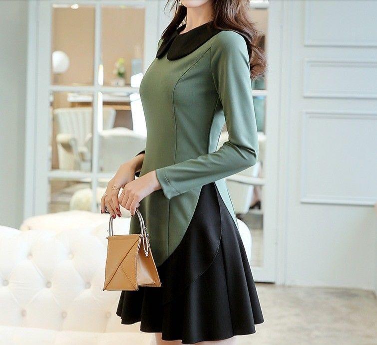 Lovely Long Sleeve Doll Collar Asymmetrical Hem Korean Style Spring Sweet Dress