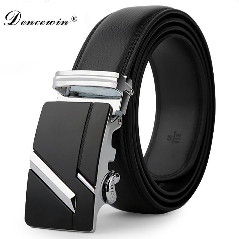 Correa de cuero para hombre correas de hebilla automáticas para hombres cinturones de auténticos cinturones de tendencia de las mujeres ceinture Correa de mezclilla para mujeres diseñador de moda