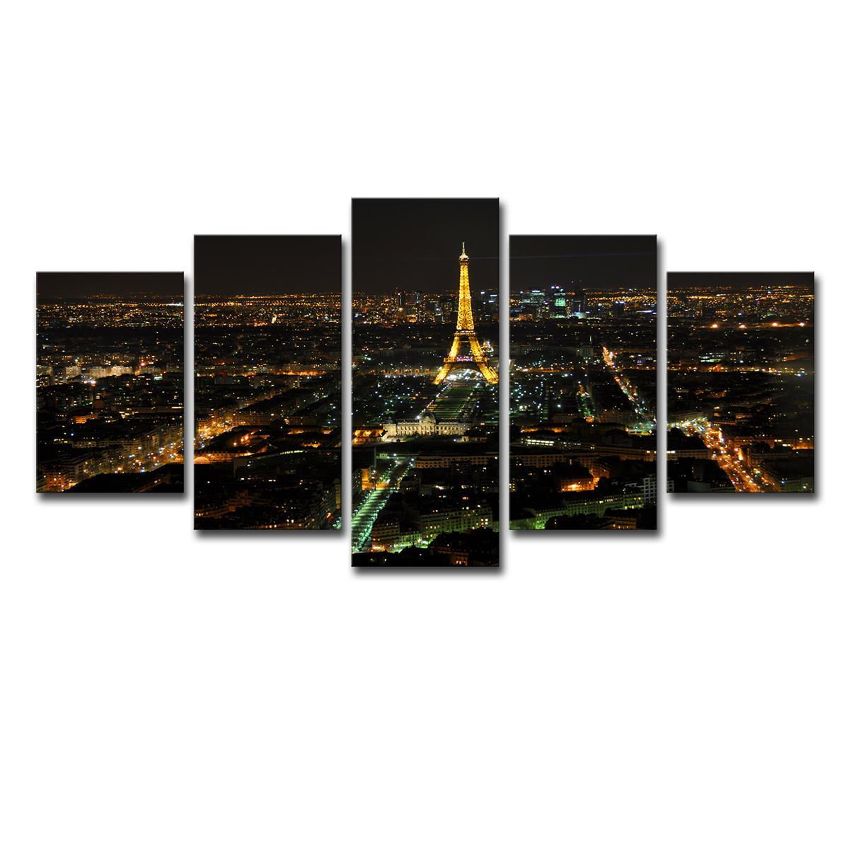 Paris Cityscape Eiffel Tower 5 Pieces canvas Wall Art Print Picture Home Decor
