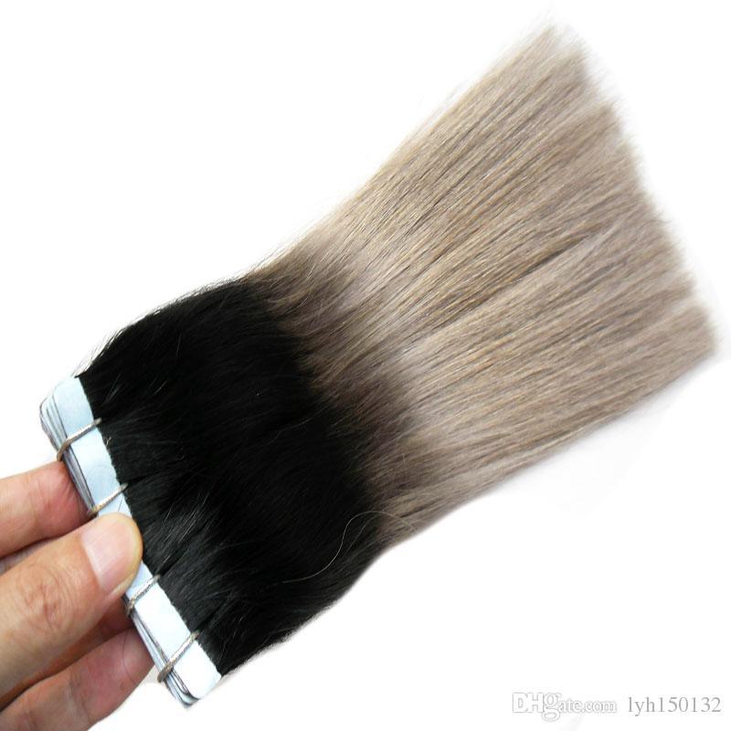 T1B / Grau 100g Hautschussband In Extensions PU Ombre Haarverlängerung aschblond Brasilianisches Menschenhaar Ombre Human Tape Haarverlängerungen