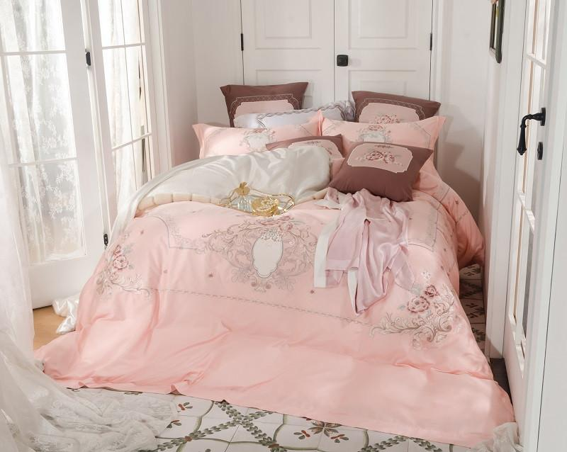 Pink Luxury 60S Egyptian cotton Flowers Embroidery Girl Bedding sets Duvet Cover Bed Sheet/Linen Pillowcases Queen King 4/7pcs