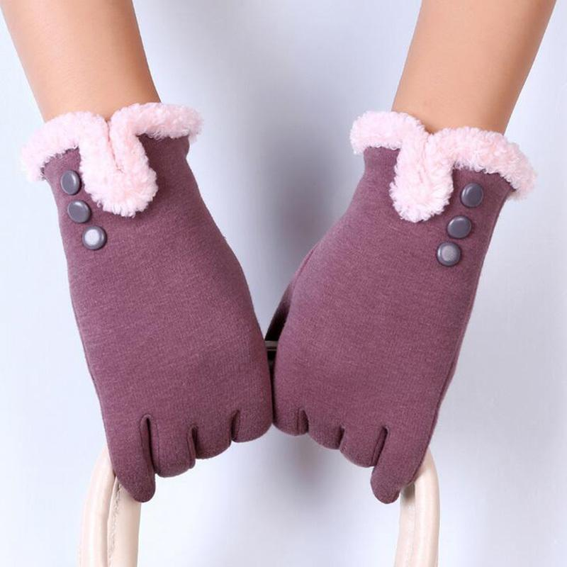 2017 New Elegant Plush Female Gloves Winter Sports Fitness Women Phone Touch Screen Wrist Mittens Gloves Guantes Mujer 13C Y18102210