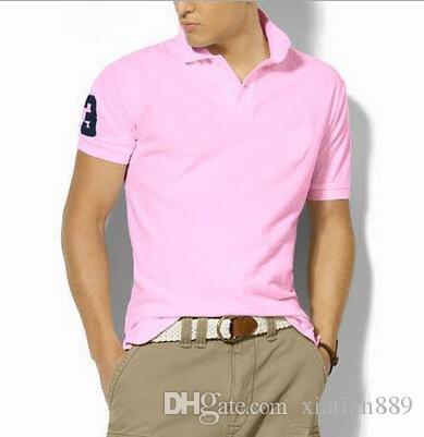 الصيف الكبير حصان صغير التطريز الرجال العلامة التجارية تي شيرت تصاميم لعبة البولو قميص يقصر رجل كم الرجال عادية قمصان صالح سليم بولو قطن لعبة البولو
