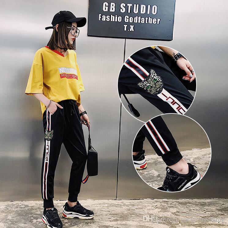 2018 kadın yaz gevşek oturan öğrenci harajuku hip-hop pantolon dokuz noktalı harem tozluk kedi pul