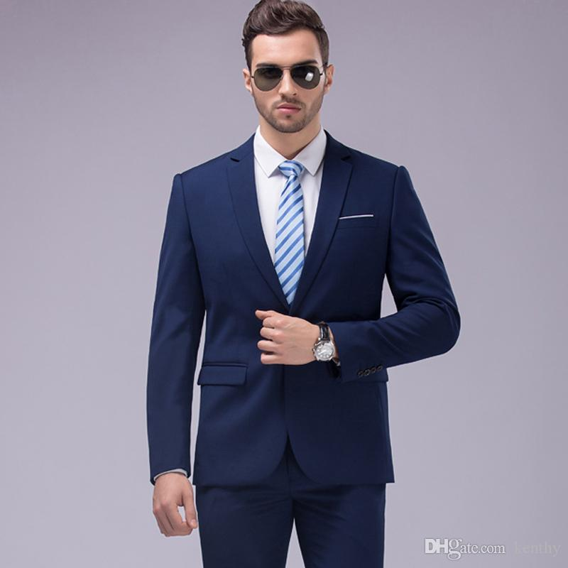 2018 Handsome Navy Blue Men Suits Formal Slim Fit Business Wedding Suits For Man Custom Made Tuxedos Blazer 2Piece Best Man Groom Prom