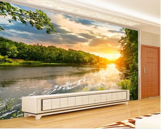Небольшая речная вода деревья красивые пейзажи ТВ фон стены современные обои для гостиной