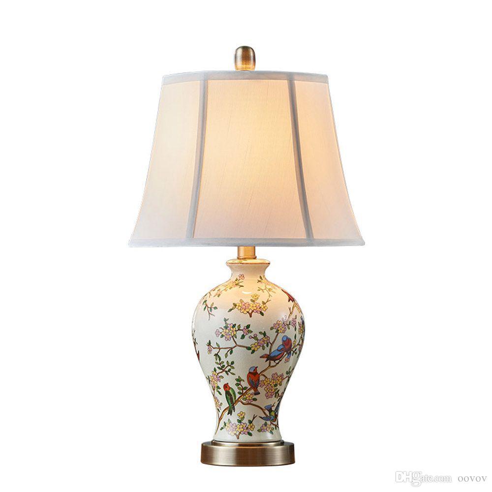 OOVOV American Ceramics Fabric Desk Lamp Living Room Bedroom Dining Room Study Room Table Lights Lamps