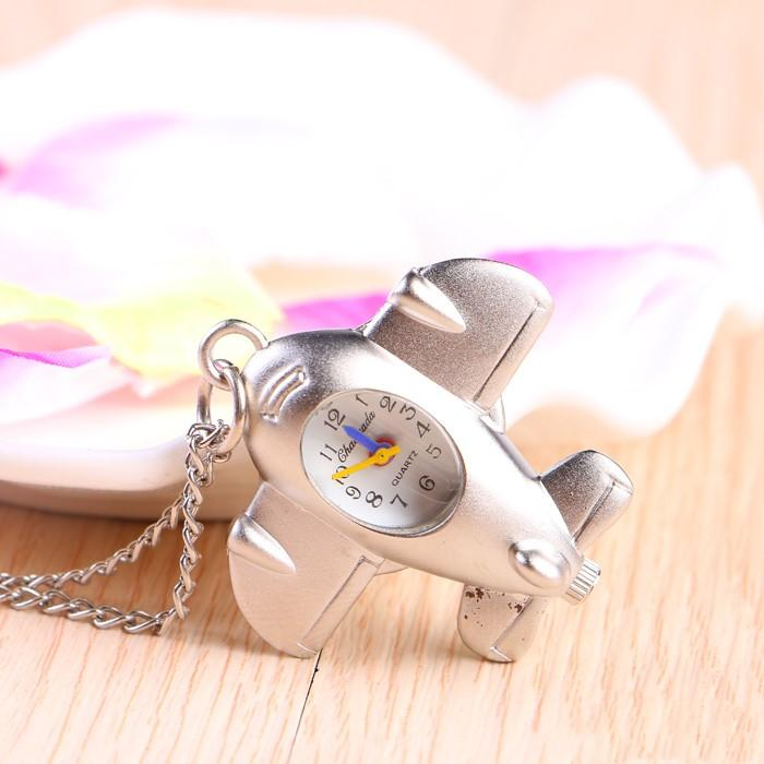 Multi-function Cartoon Airplane Pocket Watch Fashion Student Necklace/Hung watches Necklace Pendant Keychain Decoration Unisex free DHL