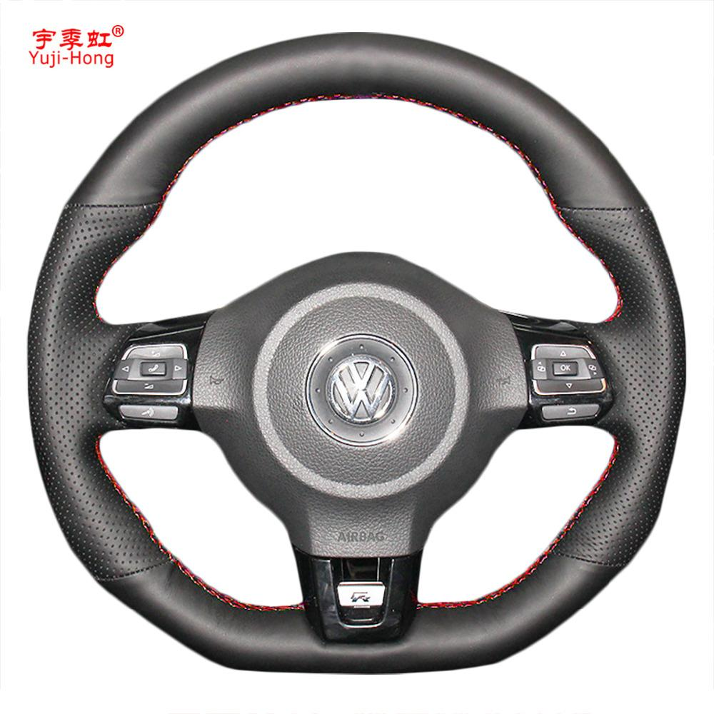 Caso de tampas de volante de carro de Yuji-Hong para VW Golf 6 GTI MK6 VW Polo GTI Scirocco R Passat CC couro artificial de R-Line 2010
