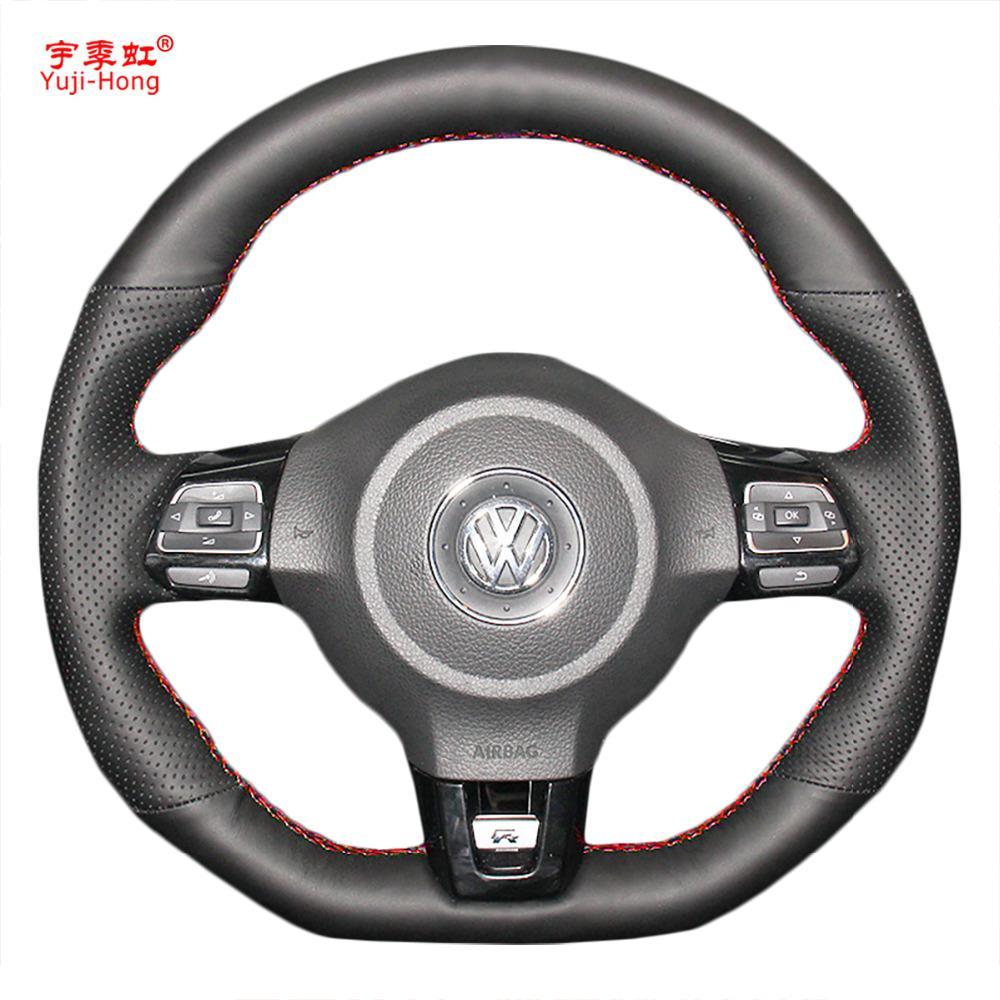 Yuji-Hong крышки рулевого колеса автомобиля Case для VW Golf 6 GTI MK6 VW Polo GTI Scirocco R Passat CC R-Line 2010 искусственная кожа