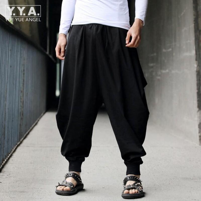 mejor selección ae5fd 3435e Compre Pantalones Baggy De Algodón De Lino Para Hombres Pantalones Baggy  Japoneses Sueltos De Estilo Casual Pantalones De Entrepierna De Hombre  Ancho ...