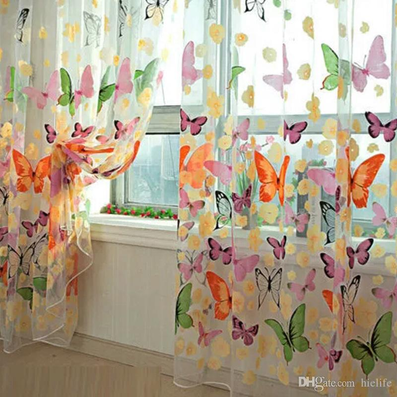 Window Curtains Luxury Home Decor Romantic Butterfly Thin Shading Yarn Tulle Customize Modern Living Decoration Sheer Curtains Screening