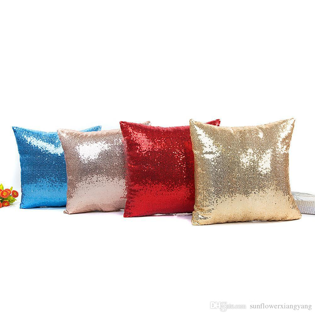 Sereia Lantejoula Capa de Almofada Glitter Fronha Sólida Travesseiro Cobre para Sofá Casa Decoração Do Carro Fronha