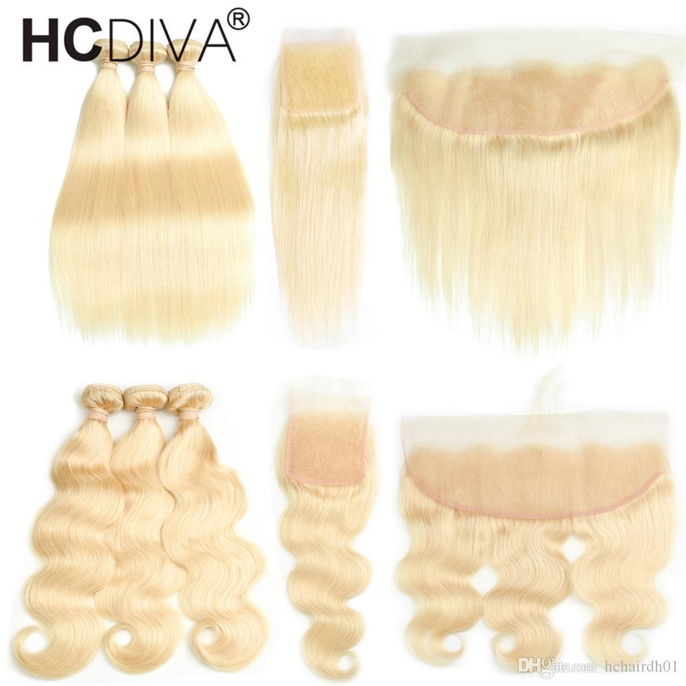 Перуанский Девы волос Straight / Объемная волна с ухом до уха Кружева лобового с волосами младенца 613 Blond волос 3 Связки с 4 * 4 Закрытия