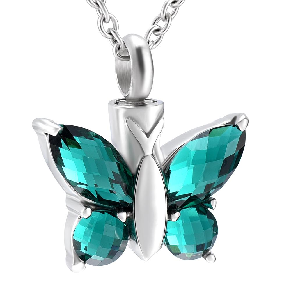 Charm crystal Butterfly cremation memorial ashes urn keepsake stainless steel pendant necklace jewelry for women