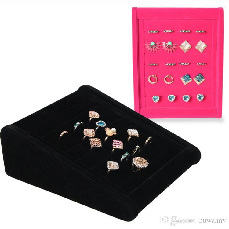 Eearrings Rings Stand Display Full Velvet Jewelry Rack Showing Stand Storage Different Colors Show Shelf Wholesale Free Shipping 0731WH