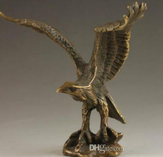 C Chinese Vintage Brass Handwork Hammered Wealth Succeed Eagle Statue