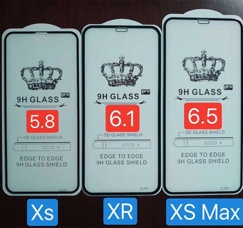 iPhone XS XR XS 용 풀 글래스 글래스 커브 드 풀 커버 강화 유리 글래스 스크린 보호기 업그레이드 곡선 유리 없음 소매 패키지
