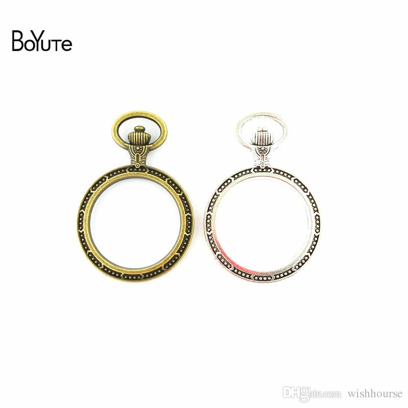 BoYuTe (20 Pieces/Lot) 30MM Cabochon Base Vintage Frame Zinc Alloy Watchcase Blank Bezel Pendant Charms for Jewelry Making Diy Necklace