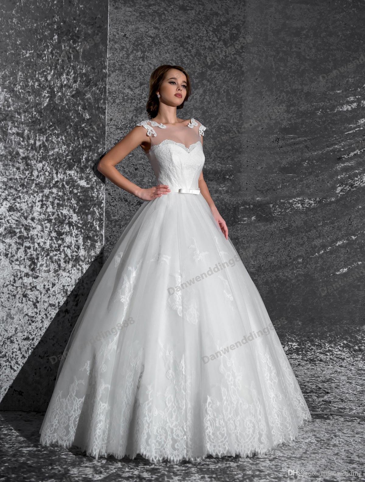 Beauty White Tulle Scoop Lace Applique A-Line Wedding Dresses Bridal Pageant Dresses Wedding Attire Dresses Custom Size 2-16 ZW607019