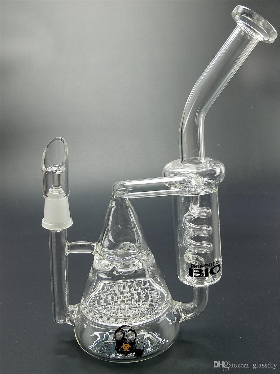 """BIO Bong Pipes eau Double recycleur Honeycomey à turbine en verre narguilés en spirale avec Précipitation glace Catcher huile 8"""" Rigs pouces hauteur barboteur Beaker Bongs"""