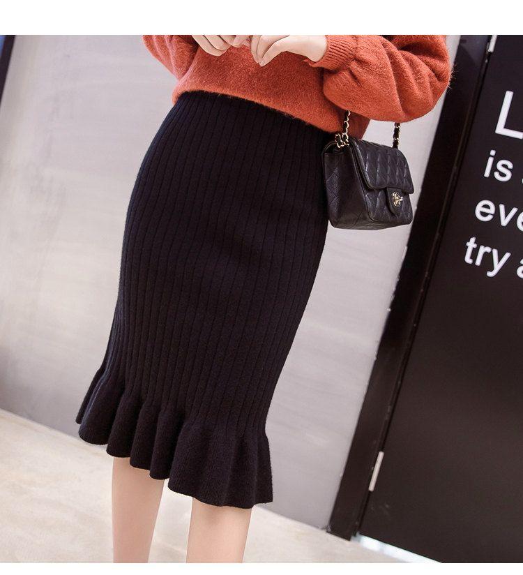 Winter Knitted Skirts Women High Waist Mermaid Skirt Saia Knitting Pack Hip Skirt Women\`s 2019 Casual Bodycon Faldas Mujer (6)