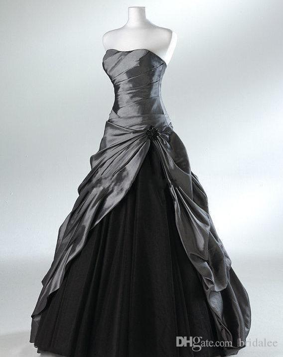 Compre Tallas Grandes Vestidos De Novia Góticos De Color Morado Y Negro Para Novias Sin Tirantes De Color Gris Longitud Del Piso Imagen Real Vestidos
