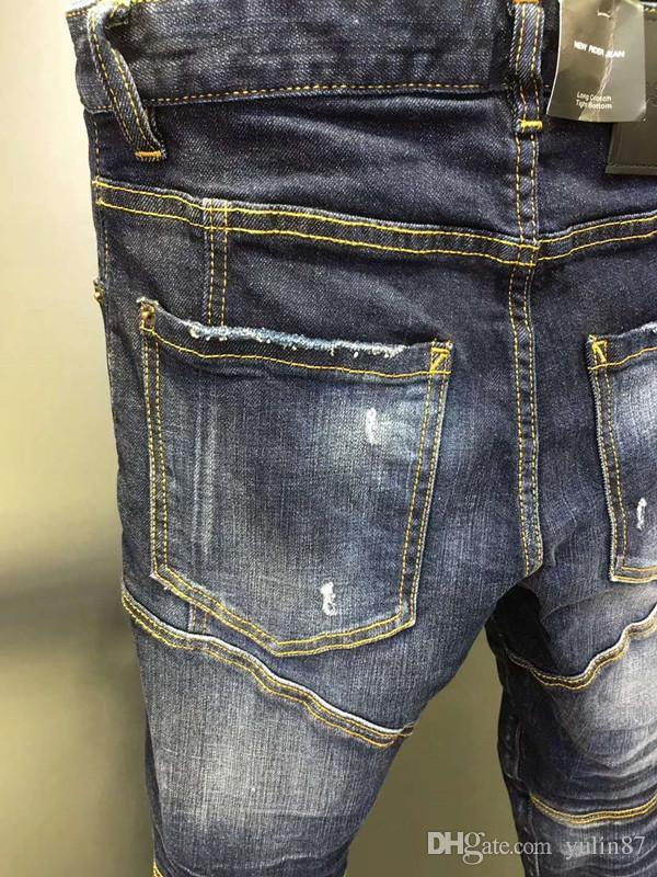 Explosion Modelle d2019 Mode neue Herrenjeans ohne Löcher, schlanke Füße, klassischer Druck, mikroelastische Herren Mode Trend