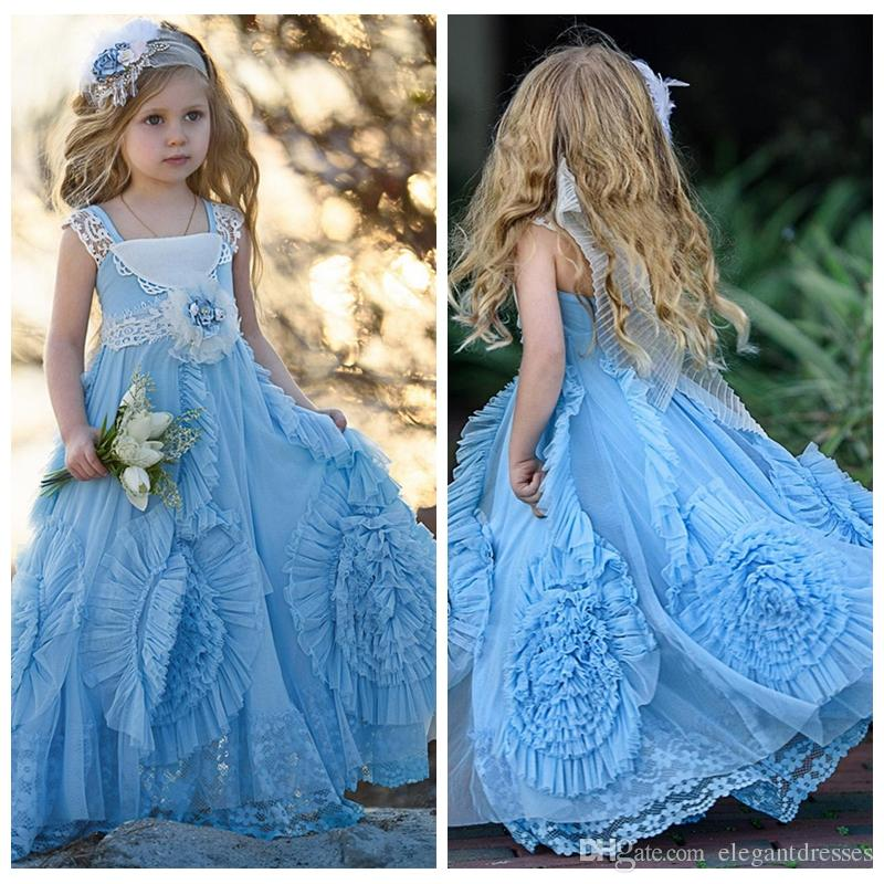 Cute Light Blue Flower Girls Dress Lace Gathered Twirl Design Square Neck Lace Pageant Dress For Girls 2021 Formal Baby Birthday Dresses