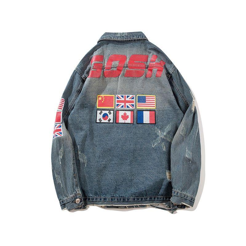 التصميم الأصلي لسترة الجينز الهيب هوب عالية الجودة مع سترة دراجة نارية خمر في الملابس الجينز شعبية M-XXL