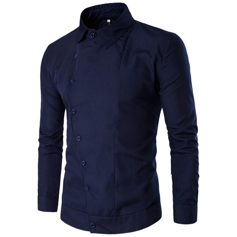 Camicie casual uomo d'affari di stile europeo uomo maturo Camicia maschile di marca di vendita calda signore blu scuro Blusa novità pulsante top