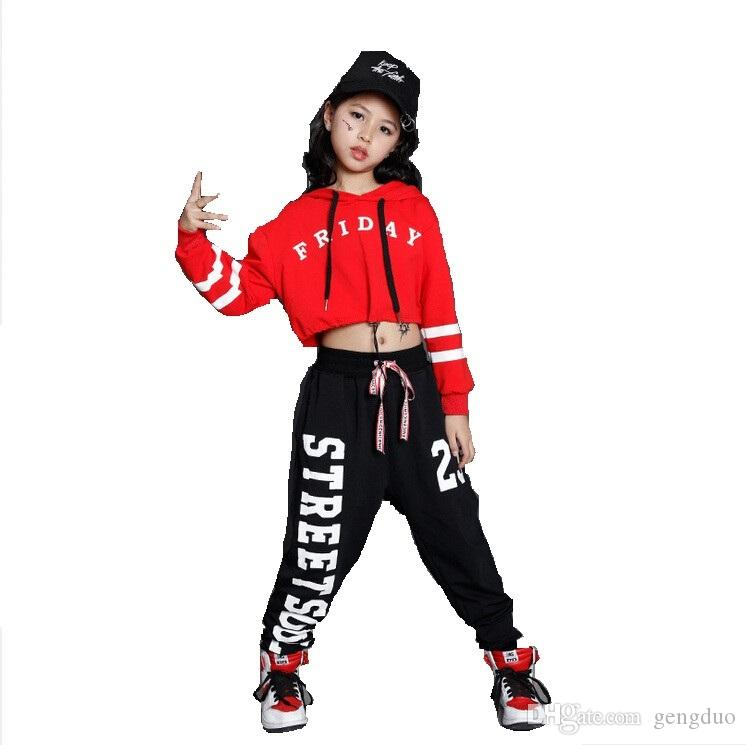 2020 Girls Boys Loose Jazz Hip Hop Dance Competition Costume Hoodie Shirt Tops Pants Teens Kid Dancing Clothing Clothes Wear From Gengduo 17 65 Dhgate Com