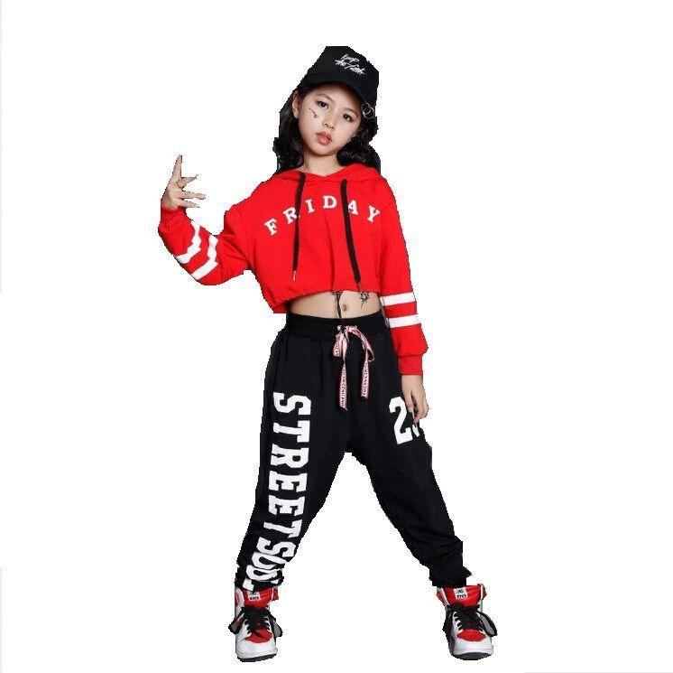 Ragazzi ragazze sciolto Jazz Hip Hop Dance Competition Costume con cappuccio camicia Top pantaloni Teens Kid Abbigliamento da ballo Abbigliamento Abbigliamento