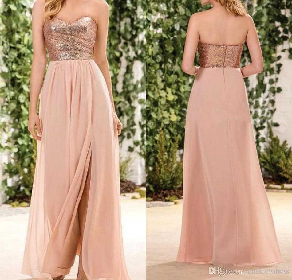 2018 Rose Gold Sequined Bridesmaid Dresses Sweetheart Side Split A Line Long Country Maid Of Honor Gowns Beach Wedding Guest Party Dress
