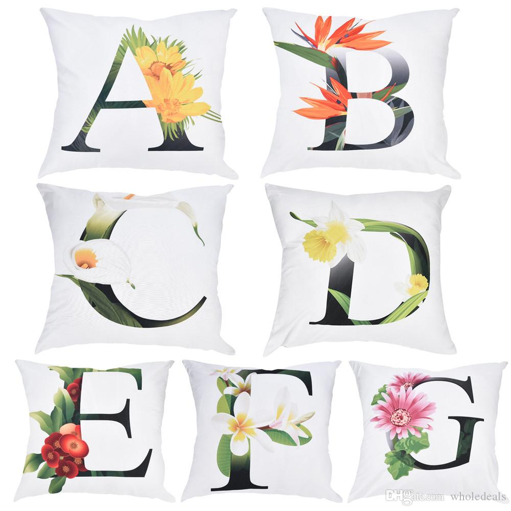 높은 품질 베개 장식 Pillowcases 꽃 알파벳 인쇄 베개 경우 폴리 에스터 소파 자동차 쿠션 커버 홈 장식 45 * 45cm