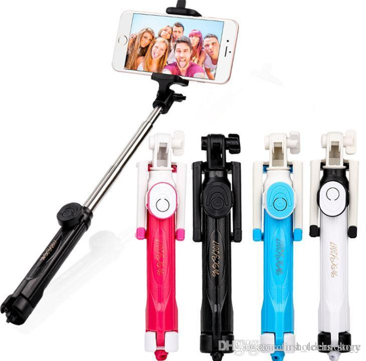 Handheld mini tripé selfie vara do telefone bluetooth obturador controlador remoto sem fio dobrável para iphone selfie vara