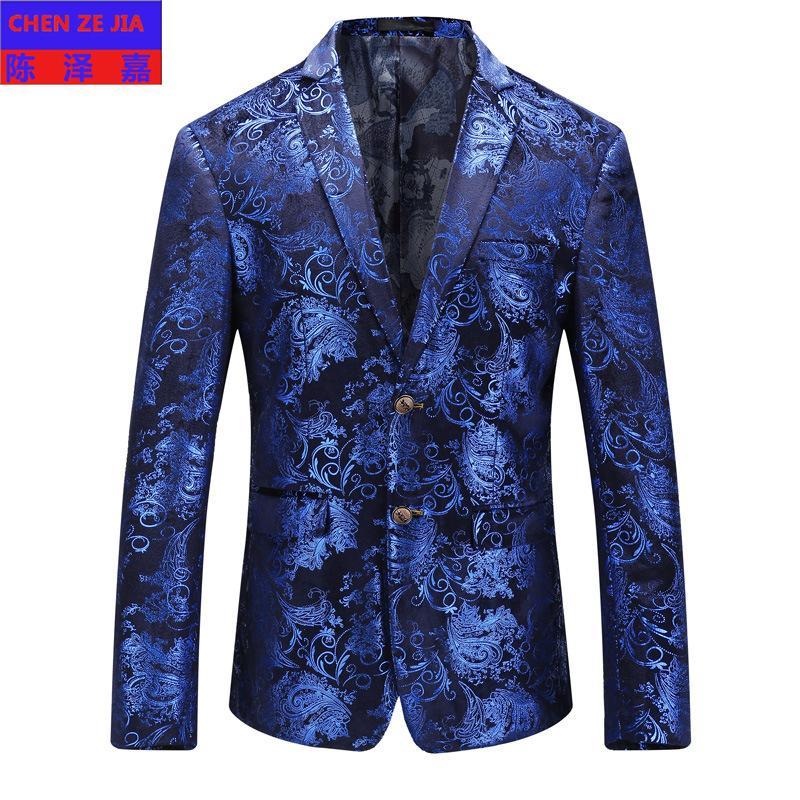 جديد وصول الأزياء عالية الجودة الرجال اللباس زهرة عارضة واحدة اعتلى البدلة سترة رجل السترة زائد الحجم m lxl 2xl 3xl 4xl 5xl
