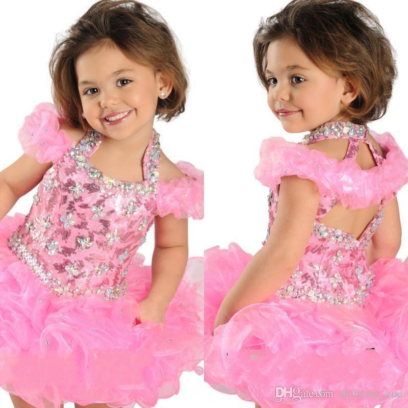 Chaud Selling Super Adorable robe de bal à halte fille fille enfant robe courtes robes de balle cristaux perlés robe de pageant à volants en organza