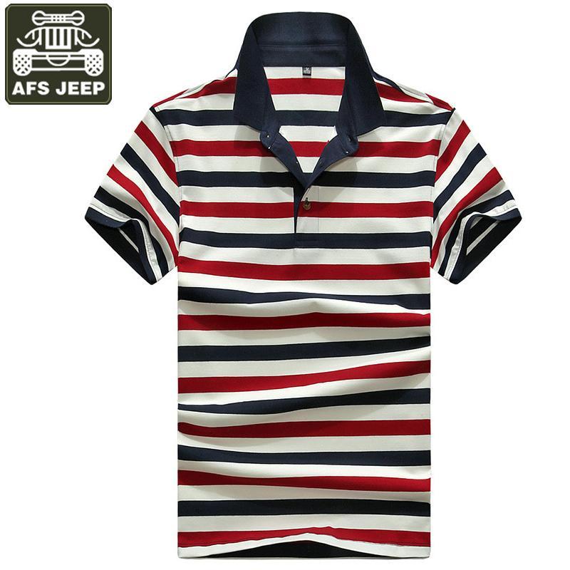 도매 폴로 셔츠 남성 스트라이프 폴로 남자 짧은 소매 다운 - 다운 칼라 Polos 파라 Hombre면 통기성 군사 탑스 티셔츠