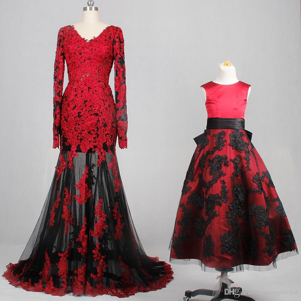 2019 new mermaid black and red wedding dresses long sleeves sheer skirt  mother and daughter bridal gowns gothic vintage colorful custom made  wedding